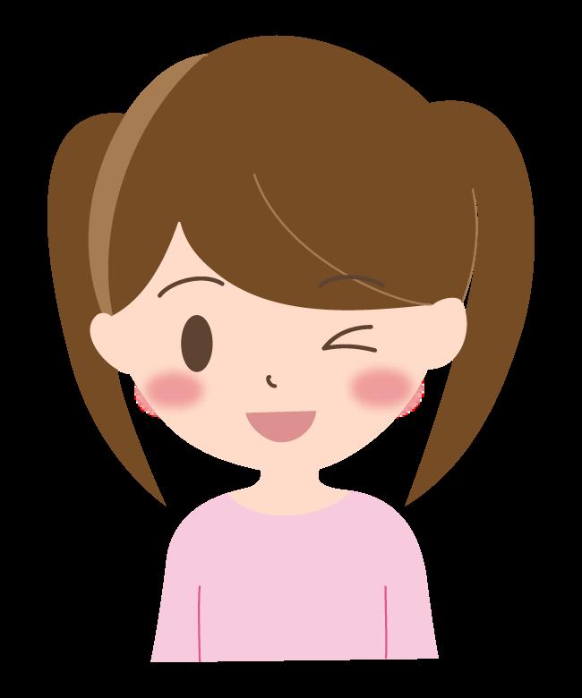 ウィンクをしている女の子のイラスト