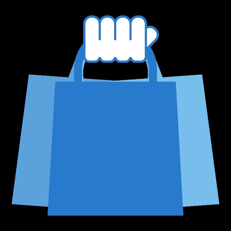 手と買い物袋(紙袋)のイラスト