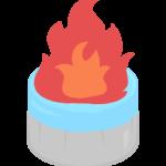燃えている固形燃料のイラスト