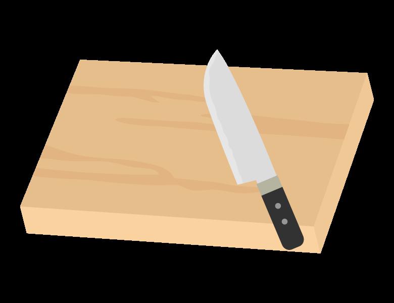 木のまな板と包丁のイラスト