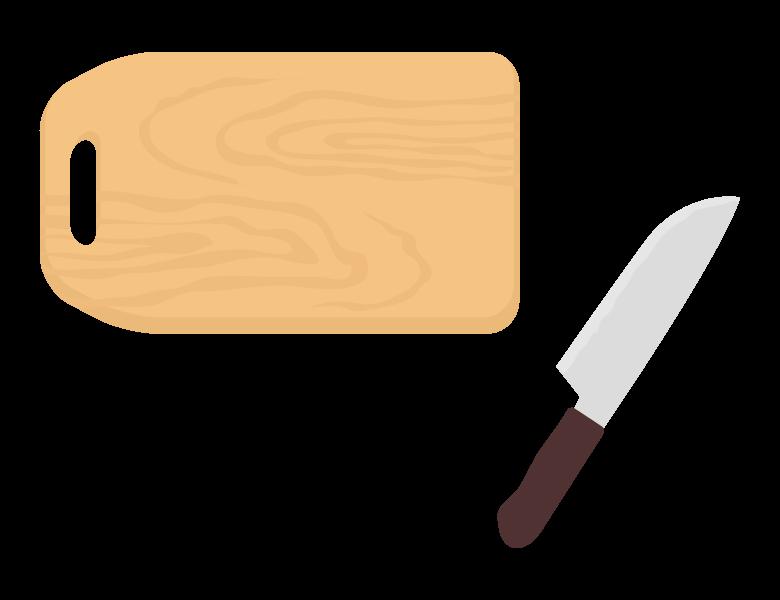 木のまな板と包丁のイラスト02