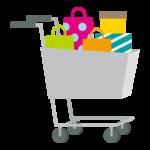 プレゼント箱とショッピングカートのイラスト
