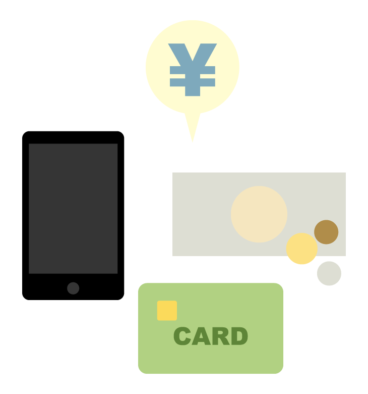 いろいろな支払い方法のイラスト