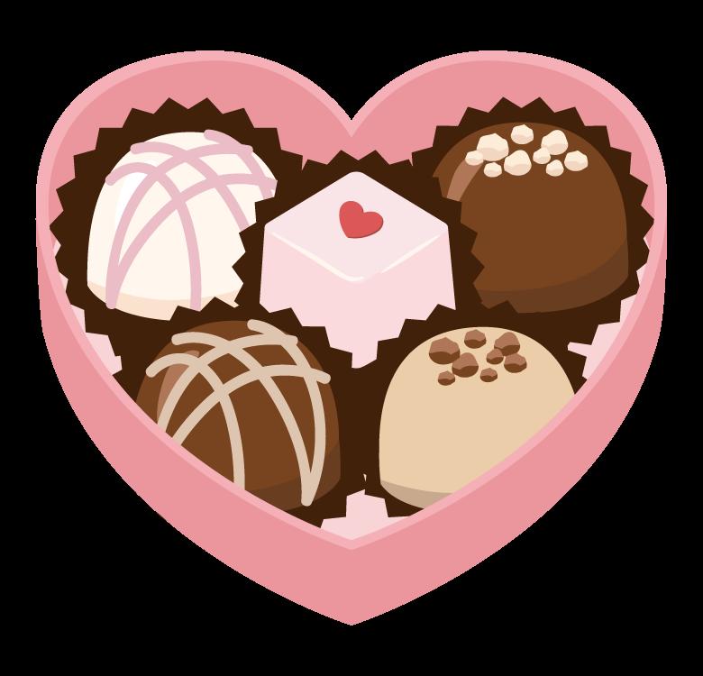 ハートの箱に入ったバレンタインチョコのイラスト