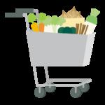 野菜とショッピングカートのイラスト