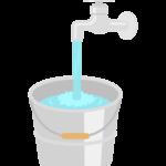 水道とバケツのイラスト