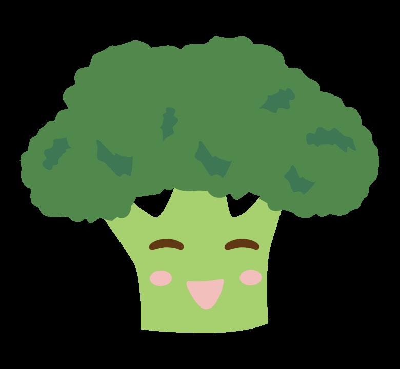 かわいいブロッコリーのキャラクターのイラスト