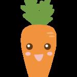 かわいいニンジンのキャラクターのイラスト