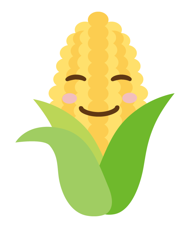 かわいいトウモロコシのキャラクターのイラスト