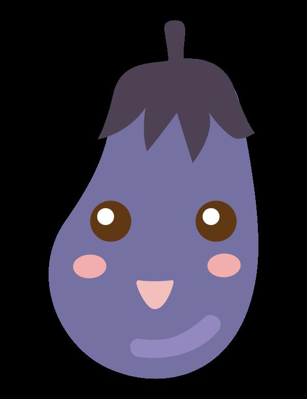 かわいいナスのキャラクターのイラスト