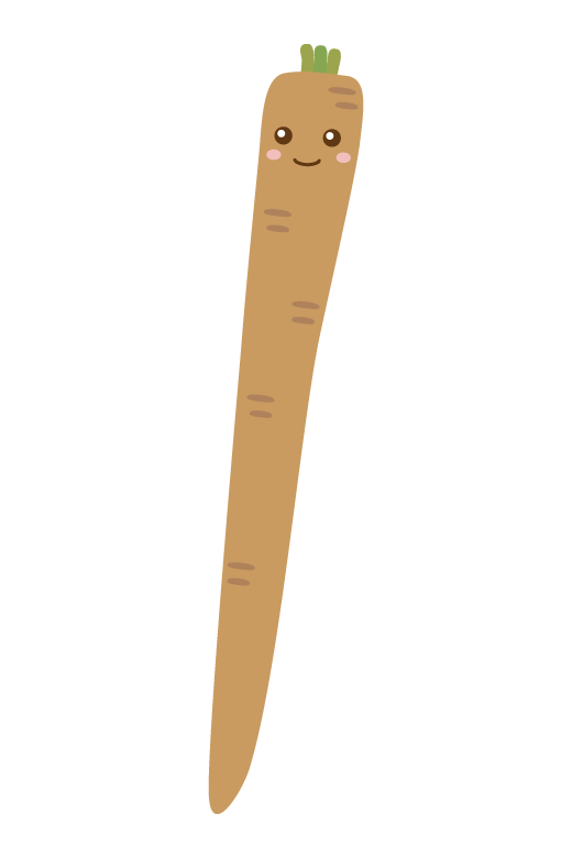 かわいいごぼうのキャラクターのイラスト