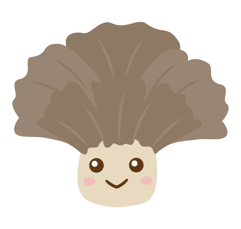 かわいい舞茸のキャラクターのイラスト