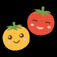 かわいいミニトマトのキャラクターのイラスト