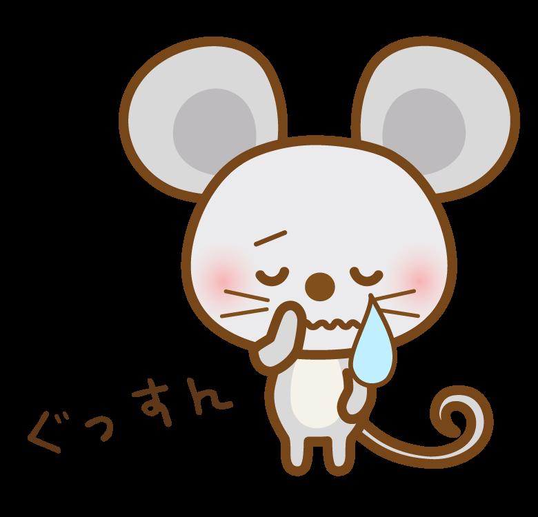 泣いているかわいいネズミさんのイラスト