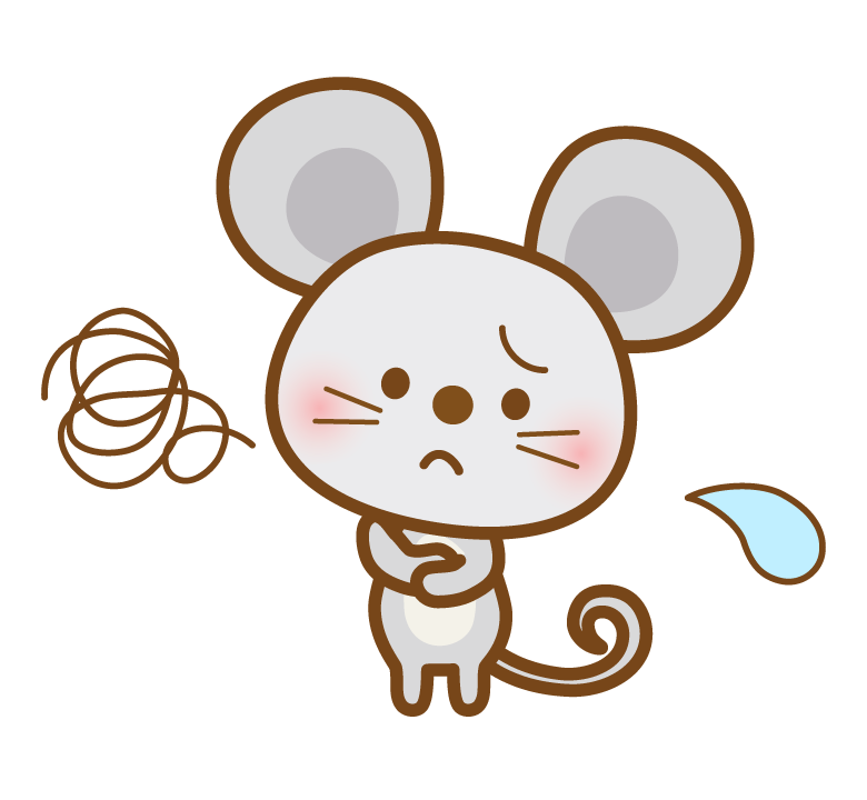 困った表情のかわいいネズミさんのイラスト