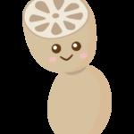 かわいいレンコン(蓮根)のキャラクターのイラスト
