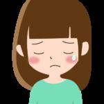 泣いている表情の女性のイラスト