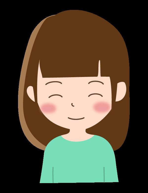 ニッコリした笑顔の女性のイラスト