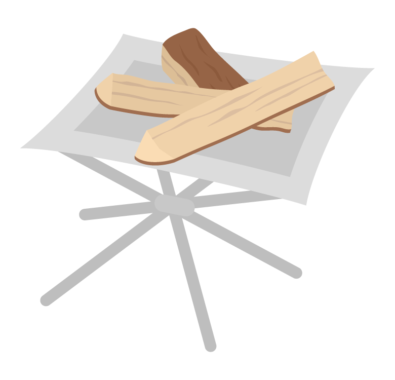 ファイアースタンドと薪のイラスト