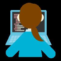 PC操作/プログラミングをしている女性の後ろ姿のイラスト