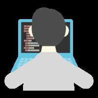 PC操作/プログラミングをしている男性の後ろ姿のイラスト