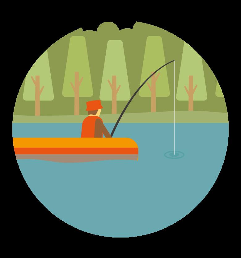 ボートの上で釣りをする人のイラスト