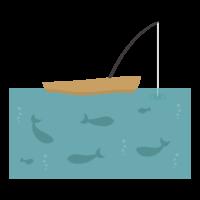 木のボート/釣りのイラスト