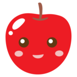 かわいいリンゴのキャラクターのイラスト