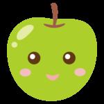 かわいい青りんごのキャラクターのイラスト