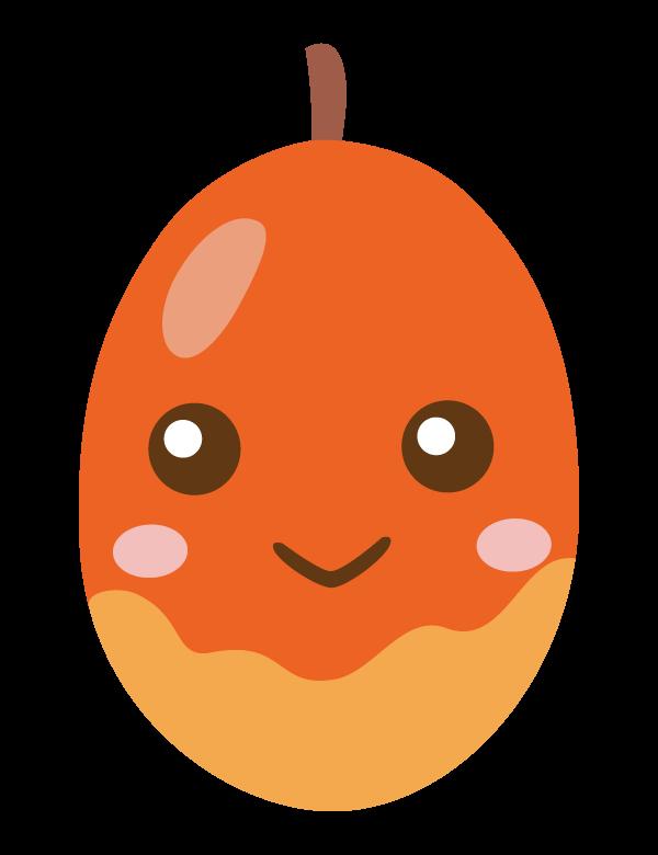 かわいいマンゴーのキャラクターのイラスト