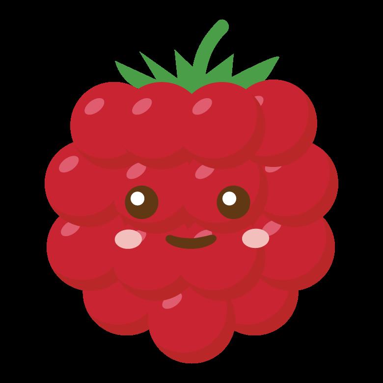 かわいいラズベリーのキャラクターのイラスト