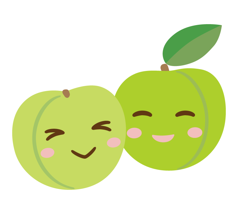 かわいい梅のキャラクターのイラスト