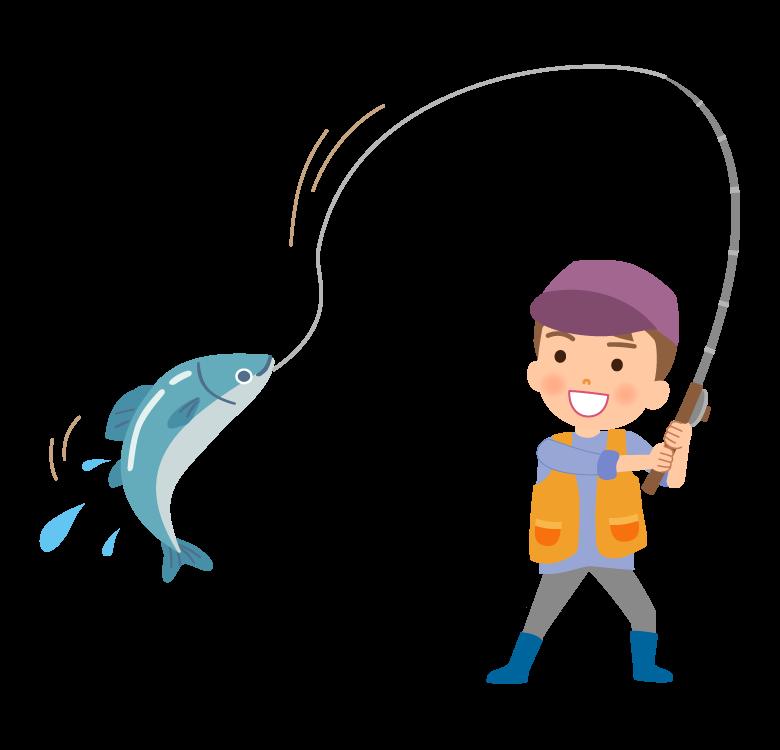 魚を釣り上げたイラスト