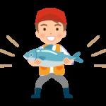 大きな魚を釣った男性のイラスト