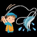 魚を釣り上げたイラスト02