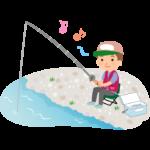 楽しそうに釣りをする男性のイラスト