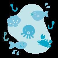 かわいい水中の生き物と釣りのイラスト