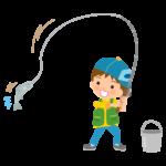 魚を釣り上げた男の子のイラスト