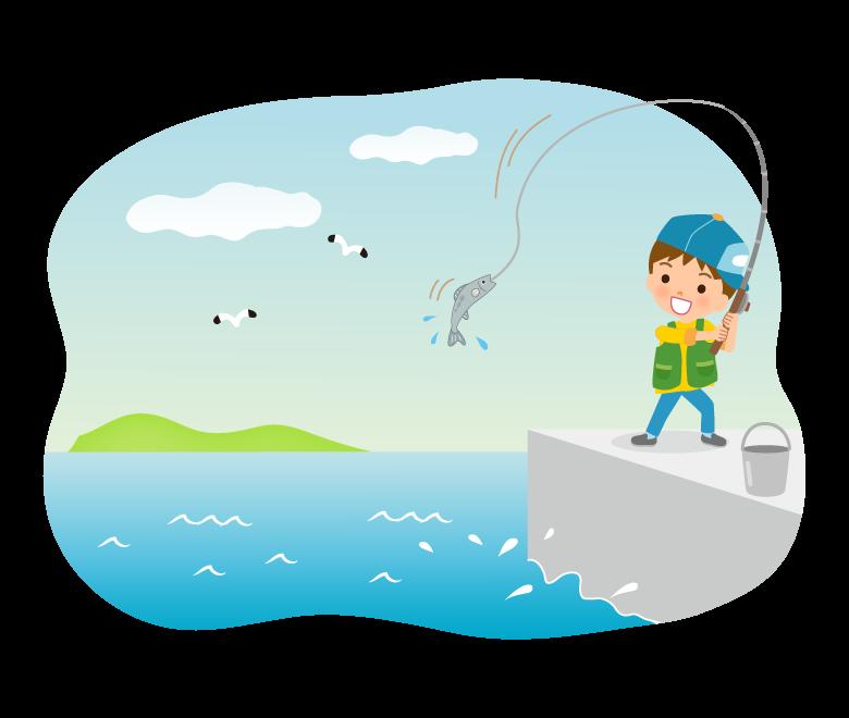 海で魚釣りする男の子のイラスト