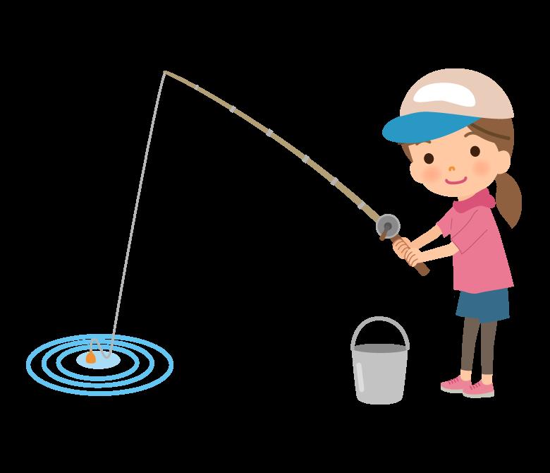 魚釣りをしている女性のイラスト