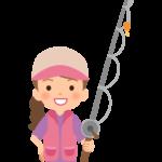 釣り竿と女性のイラスト