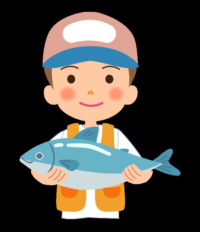 大きな魚を釣った男性のイラスト02