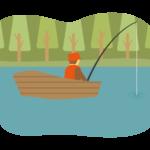 木のボートの上で釣りをする人のイラスト