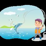 海で魚釣りする男性のイラスト