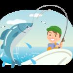 船の上で魚釣りする男性のイラスト