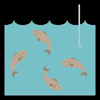 釣り針と水中の魚たちのイラスト04