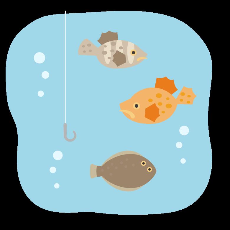 釣り針と水中の魚たちのイラスト