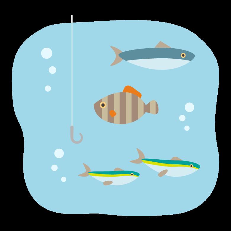 釣り針と水中の魚たちのイラスト02