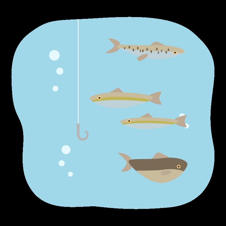 釣り針と水中の魚たちのイラスト03