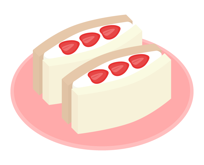 苺のフルーツサンドのイラスト